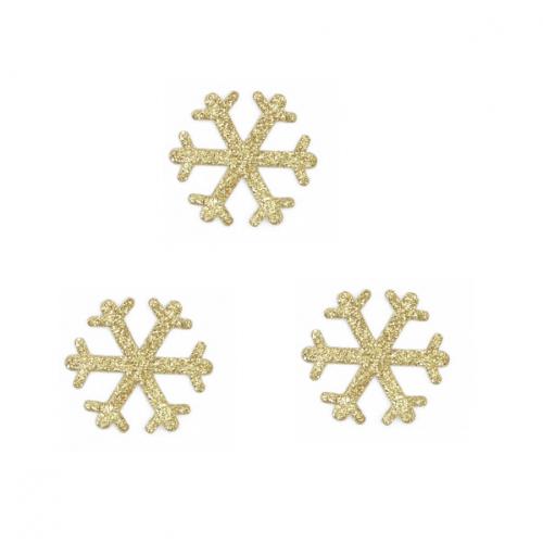 Патч Снежинка золотая с глиттером