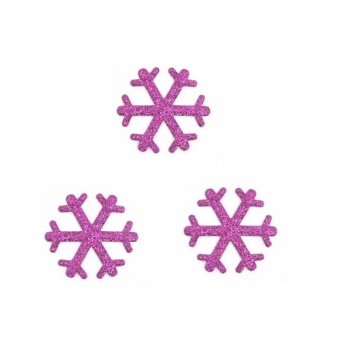 Патч Снежинка малиновая с глиттером