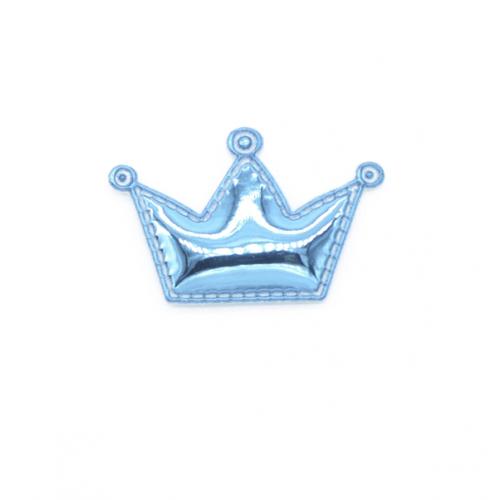 Патч лаковый Корона голубая