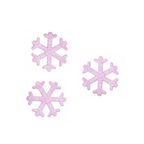 Патч Снежинка светло-розовая с глиттером