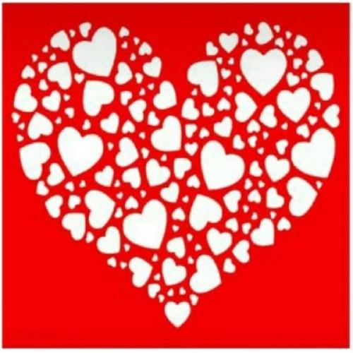 Трафарет Сердце из сердец, 18х18 см