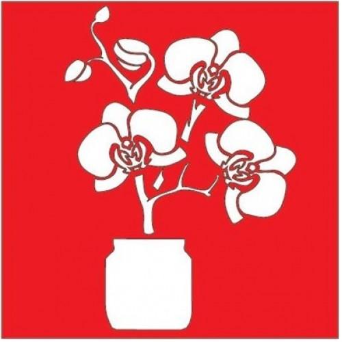 Трафарет Орхидея в банке, 18х18 см