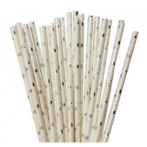 Трубочка бумажная Белая с серебряными звездами фото