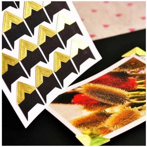 Самоклеющиеся уголки для фото Золотые фото