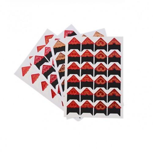 Самоклеющиеся уголки для фото Красные с глиттером, 24 шт