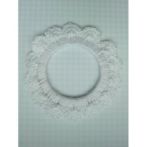Вязаный декор Рамочка белая 7 см фото
