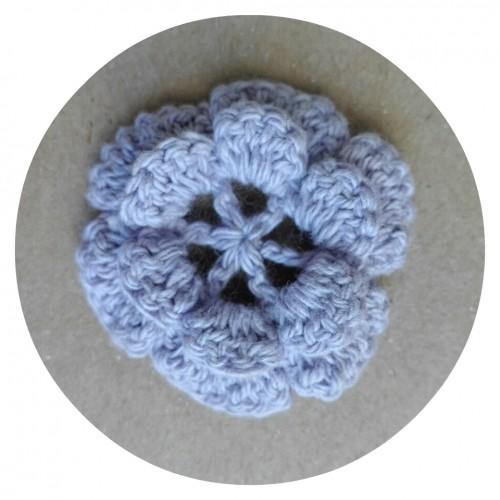 Вязаный декор Цветок двухслойный Фиолетовый 3,5 см фото