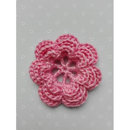 Вязаный цветок 10 (3 слоя) 3,8 см, розовый