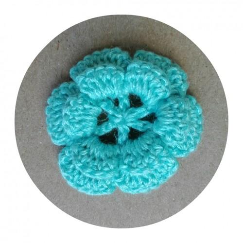 Вязаный декор Цветок двухслойный Бирюзовый 3,5 см фото