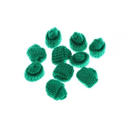 Вязаный декор Шапка зеленая, 3,5 см