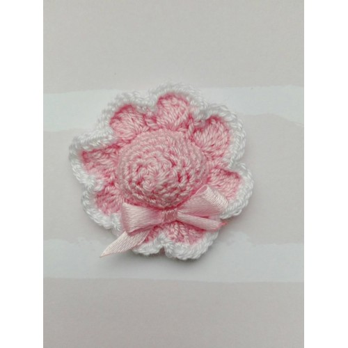 Вязаная шляпка 4 см розовая с розовым бантом и каймой