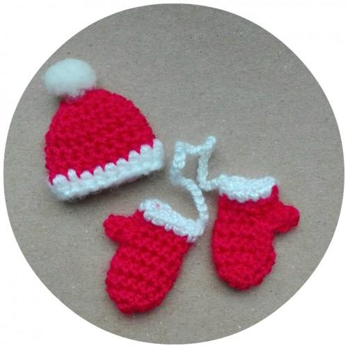 Вязаный декор Зимний набор красный