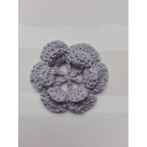 Вязаный цветок 1 (2 слоя) 3,8 см, фиолетовый