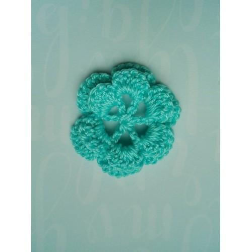 Вязаный цветок  3,5 см, бирюзовый