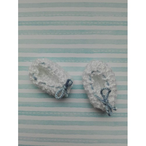 Вязаные тапочки со шнурочками 2.5х1.5 см, белый