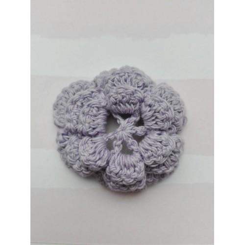 Вязаный цветок  3,8 см, фиолетовый