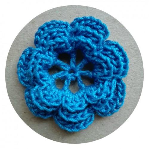 Вязаный декор Цветок трехслойный Синий фото