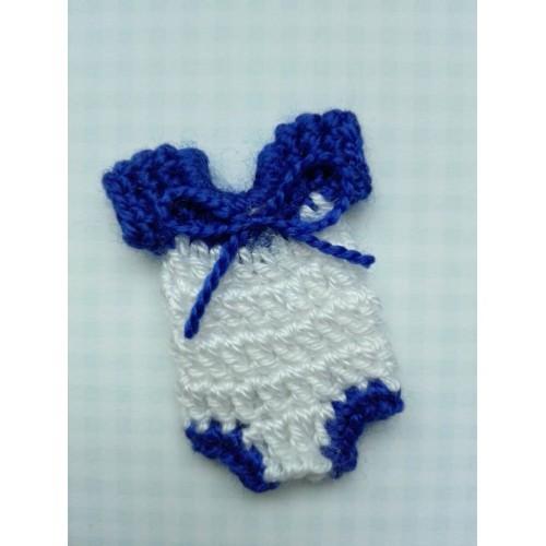 Вязаный декор Бодик синий 4х3 см фото