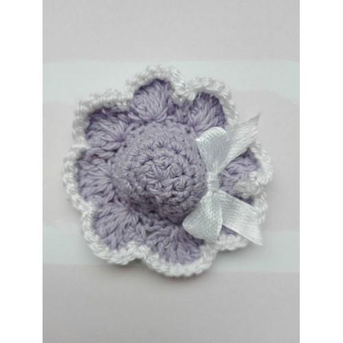 Вязаный декор Шляпка фиолетовая 4 см фото