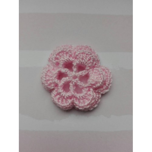 Вязаный цветок  3,8 см, розовый