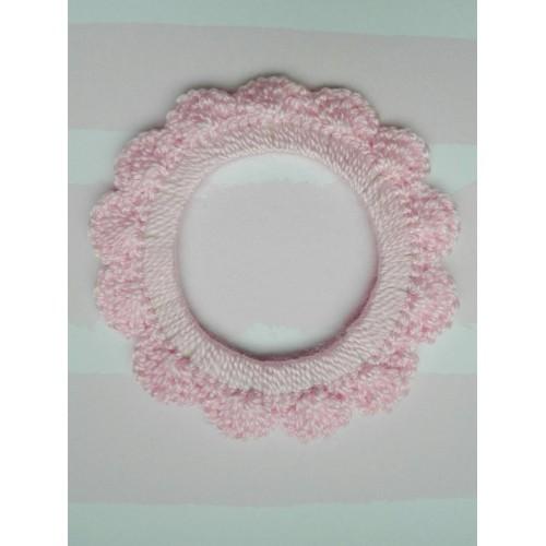 Вязаный декор Рамочка розовая, 7 см