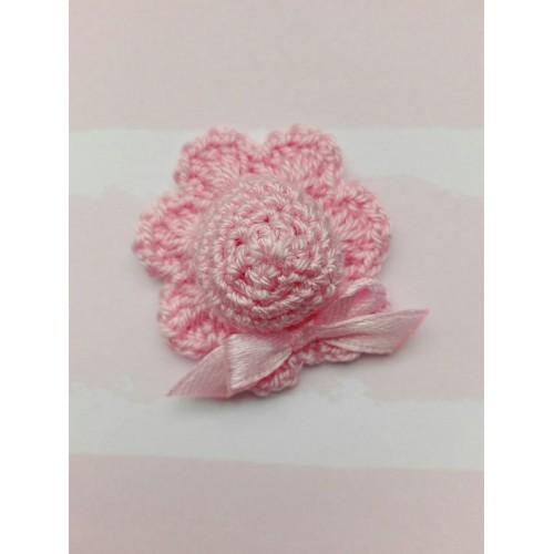 Вязаный декор Шляпка розовая 4 см фото