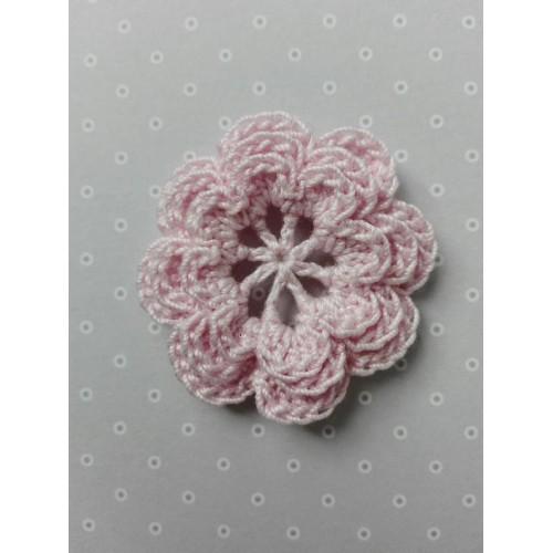 Вязаный цветок 12 (3 слоя) 3,8 см, светло-розовый