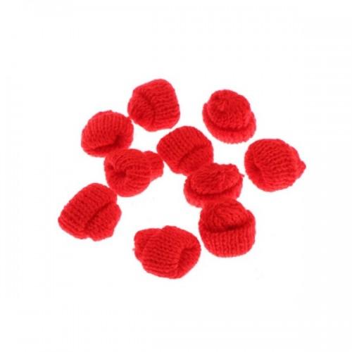 Вязаный декор Шапка красная, 3,5 см
