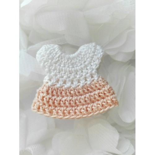 Вязаное платье персиковое, 4х4 см
