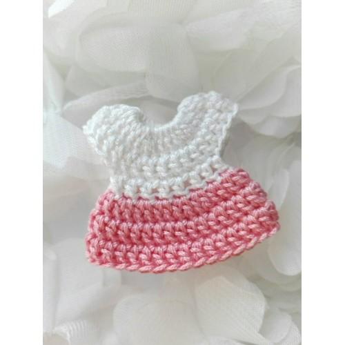 Вязаный декор Платье розовое, 4х4 см