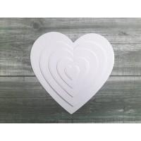 Набор вырубки из акварельной бумаги Сердечки, 5 шт