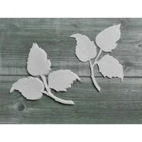 Набор вырубки из акварельной бумаги Листики розы, 5 шт