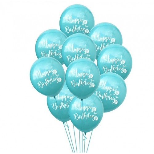Воздушный шарик happy birthday, бирюзовый фото