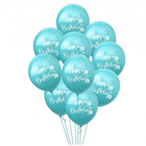 Воздушный шарик happy birthday, бирюзовый