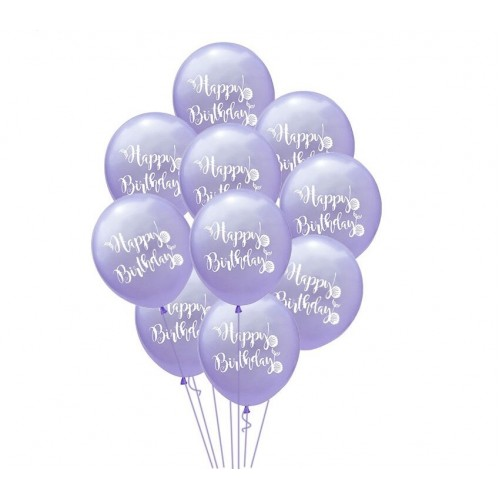 Воздушный шарик happy birthday, фиолетовый