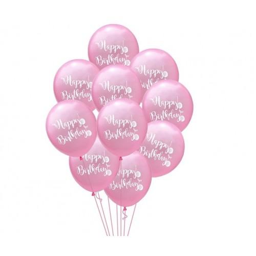 Воздушный шарик happy birthday, розовый