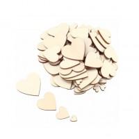 Набор деревянных сердечек. 4 размера, 20 шт