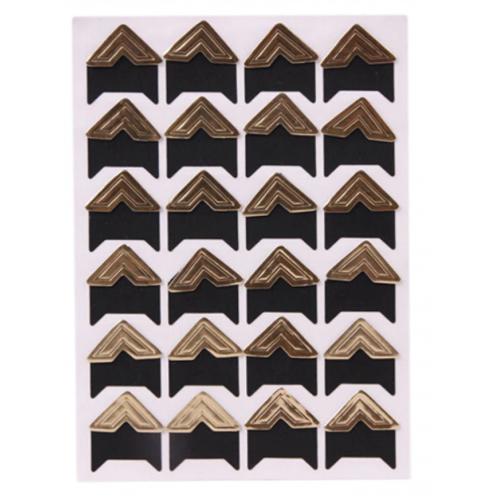 Самоклеющиеся уголки для фото Золотые, 24 шт